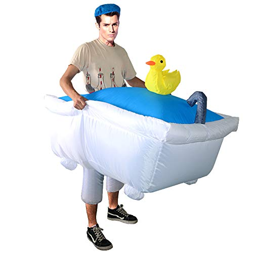 Lustige Männer Kreative Kostüm - thematys Aufblasbare Badewanne Kostüm - Lustiges Luftkostüm für Erwachsene 165cm-185cm - Perfekt für Karneval, Junggesellenabschied oder Halloween
