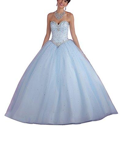 Erosebridal Herz-Ausschnitt Abendkleider Lang Mieder Ballkleider mit Perlen Hellblau DE32 - Ballkleid Mit Perlen Mieder