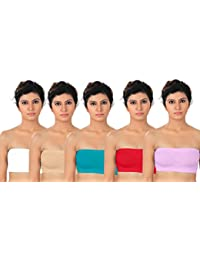 Fabme Women's Strapless Non Padded Non Wired Bra (Pack of 5)