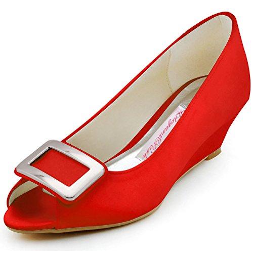 Elegantpark, Scarpe peep toe donna, Rosso (rosso), 34