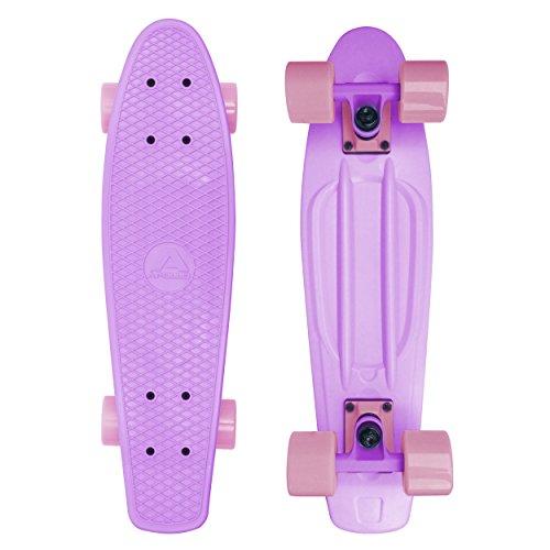 Apollo Fancy Skateboard, Vintage Mini Cruiser, Komplettboard, 22.5inch (57,15 cm), Mini-Board mit Holz Oder Kunstsoff Deck mit und Ohne LED Wheels, Farbe: Candy Rosé/Rosé