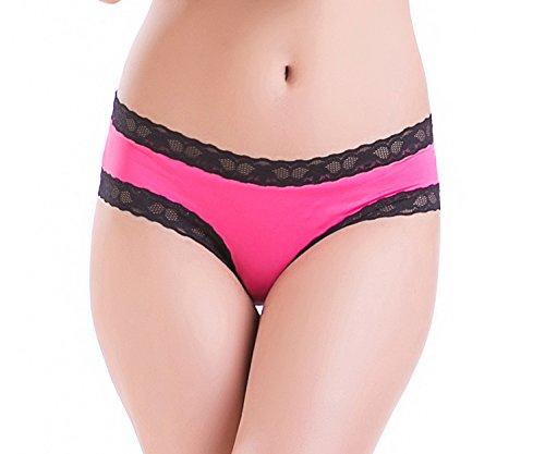ELEIN Sexy Lingerie Spitze Zurück Öffnen Crotchless Panty Krawatte Unterwäsche Briefs für Damen (Deep Pink, XXL)