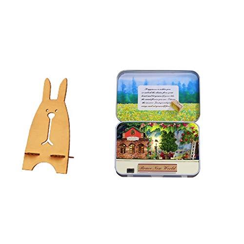 ime Garten 3D Holz DIY handgemachte Box Theater Puppenhaus Miniatur Box Mini Puppenhaus montieren Kits Spielzeug - Multi-Color gemischt ()