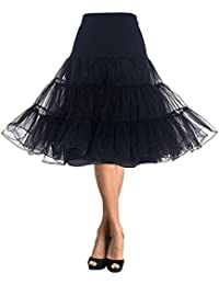 DaisyFormals Women's 50s Vintage Rockabilly Petticoat Skirt Tutu Net Underskirt- Black,SM