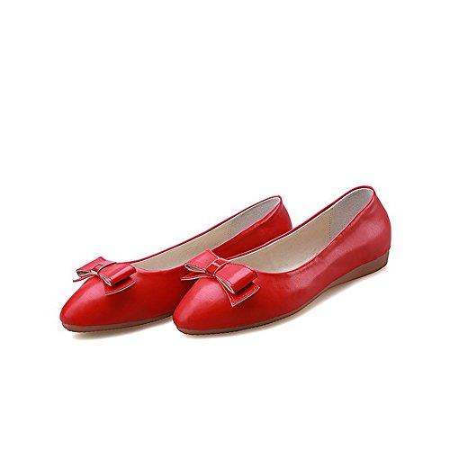 AllhqFashion Femme Non Talon Couleur Unie Rond Chaussures à Plat Rouge