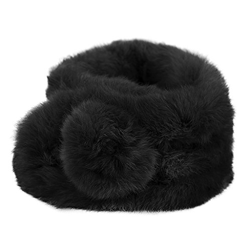 Braga para cuello de lana suave y pelo sintético, tejido grueso y cálido, para mujer, para otoño e invierno, negro