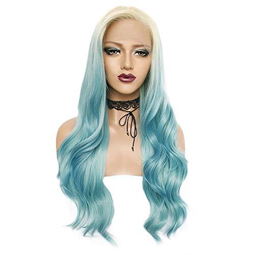 Mit Kostüm Perücken Lockenwicklern - Perücken, Perücken und Haarteile, für Erwachsene, mit blauen Farbverlauf, für Perücken