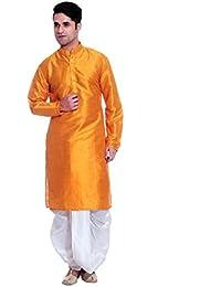Ruchi Mart Mezcla de seda desgaste Dhoti Kurta tradicional india Bollywood Naranja étnico Ropa