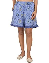 9teenAGAIN Women's Hosiery Printed Shorts (Mouve)