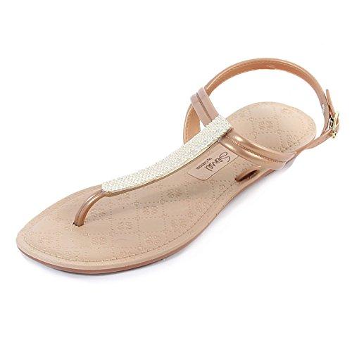 f59dcae0ef68 Grendha Women s Sense Metallica Slip on Buckle Sandal Gold Size 5