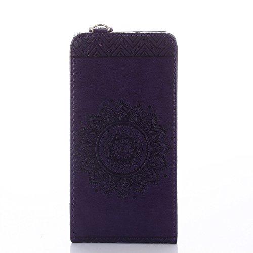 Étui en cuir PU pour Huawei P9 Lite,Vertical Pliable Rabat Shell pour Huawei P9 Lite,Huawei P9 Lite Flip Cover,Ekakashop Etui avec Motif de Rose Rot Mandala Retro Tendance Style Portable Coque de Prot Violet