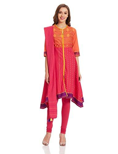 Biba Women's Asymmetrical Hemline Salwar Suit (SKD4747_Pink_34)