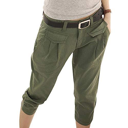Vertvie Damen Capri Hose Sommer Kurze Freizeithose 3/4 Länge Sommer Freizeit Alltags Arbeit(M, Armee grün) -