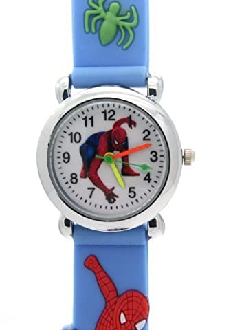 TimerMall Spider Man Kids White Dial Water Resistant Light Blue Rubber Watchband Quartz Watches