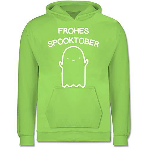Kinder - Frohes Spooktober Halloween - 7-8 Jahre (128) - Limonengrün - JH001K - Kinder Hoodie ()