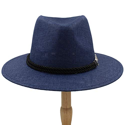 ZhengFei 2019 männer Frauen britischen Retro Jazz Hut Mode panaman hüte Fedora Neue Unisex Baumwolle Plaid frühling Herbst Sommerhut im Freien (Farbe : Draw Blue, Größe : 56-58CM) -