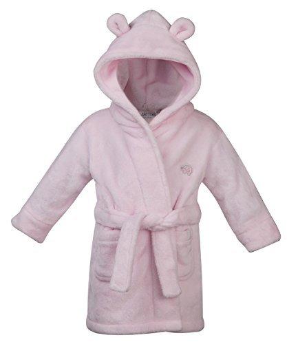 Cuarto de baño Bañador para bebé de cremallera con capucha para Supersoft del paño grueso y suave del traje de piel sintética con corazón en forma de orejas chica de espaldas en ropa cambio de ropa de novia o traje de PINK 18C203 Talla:18-24