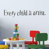 SMILEQ Funny Quotes Wall Stickers Every Child is an Artist Removable Art Vinyl Mural Home Room Decor (Black)
