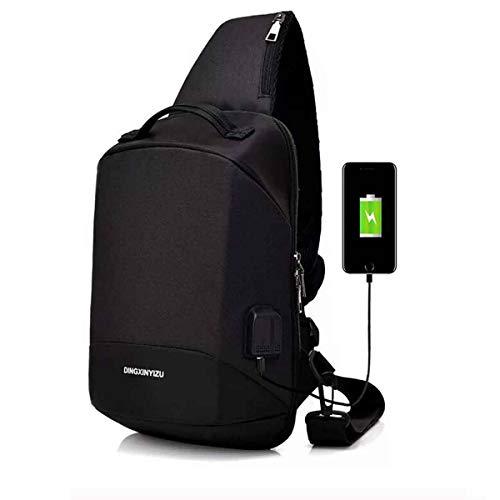JAKAGO Leichter Schulter-Rucksack mit Schulterriemen und USB-Anschluss für Sport, Outdoor, Fitnessstudio, Biking, Reisen, Wandern, Camping, Digitalkamera, JKG-XB01-UK-B, Schwarz