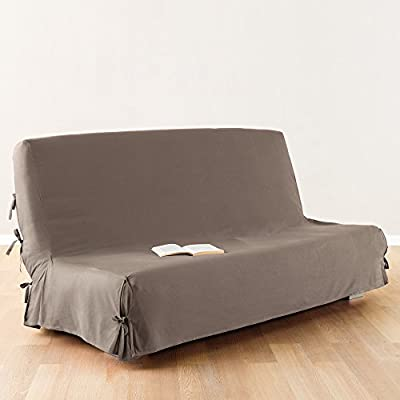 Sofa bed / Futon cover - 100 % cotton - colour TAUPE - cheap UK sofabed store.
