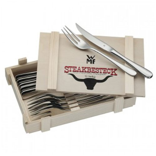 WMF 12tlg Steakbesteck IN HOLZKASSETTE