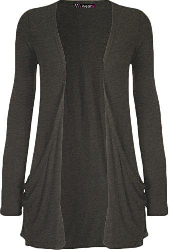 WearAll - Damen langarm Cardigan mit taschen - 17 Farben - Größe 36-50 Dunkelgrau