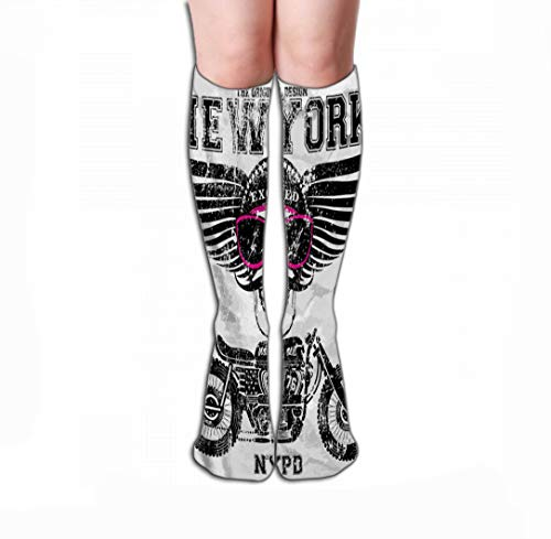 Men Women Outdoor Sports High Socks Stocking Motorcycle Skull New York Fun Man Graphic Design Printing Art Tile Length 19.7