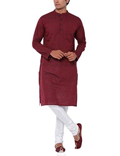 SVANIK Men's Knee Length Cotton Kurta (SVLK1857_Medium_Red)