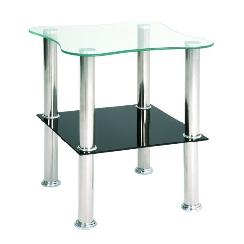 Haku Möbel 33510 Table Basse d'Appoint Tôle Inox/Verre Trempé Optique Inox-Noir