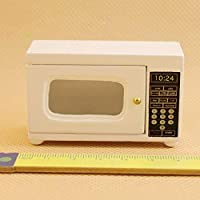 Ruby569y Doll House Accessories for DIY, Mini Lovely Wooden Microwave Oven Model Toy 1/12 Dollhouse Miniature Decor - White