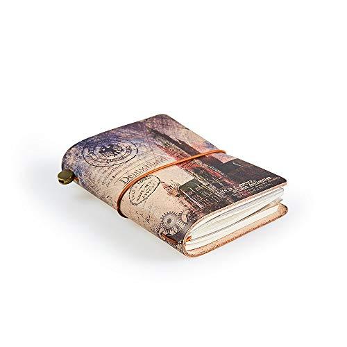 Reisetagebuch, A6 Reisenotizbuch Nachfüllbar, Perfekt für Schreiben, Geschenk für Mann & Frau Nachfüllbar, Notizbuch Leder, Taschengröße, Tagebuch, 13.5 x 10.5cm, mit Reißverschlussfach, Deutschland
