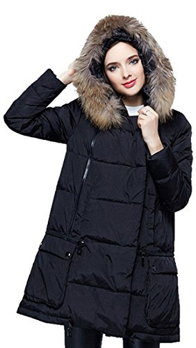 Laruise Damen Hooded Wei? Entendaunen Leichte Daunenjacken Large Black