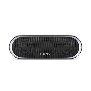 Sony SRS-XB20 Tragbarer, kabelloser Lautsprecher (farbige Lichtleiste, Extra Bass, Bluetooth, NFC, wasserabweisend, bis zu 12 Stunden Akkulaufzeit, Wireless Party Chain) Schwarz