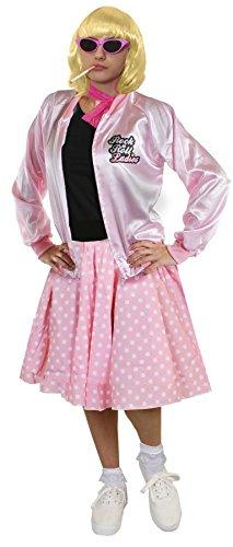 DELUXE = ROSA RETRO MUSIKAL KOSTÜM SET = 1950S/1960S STIL = ROSA ROCK&ROLL JACKE + ROSA POLKA DOT ROCK MIT WEISSEN PUNKTEN + WEISSEN KURZEN SOCKEN + ROSA SPITZEN SCHLEIFE (Size Holly Plus Kostüm Buddy)