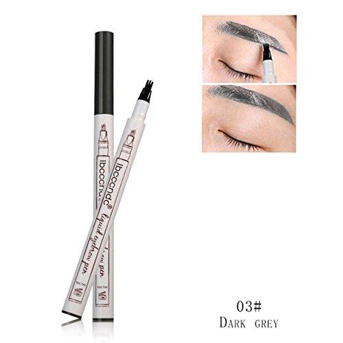 Micro Gabel Spitze Augenbraue Tattoo Pen Feine Skizze Flüssigkeit Augenbrauenstift Wasserdichte Tattoo Super Durable Henna Augenbrauenstift (Dunkelgrau) -