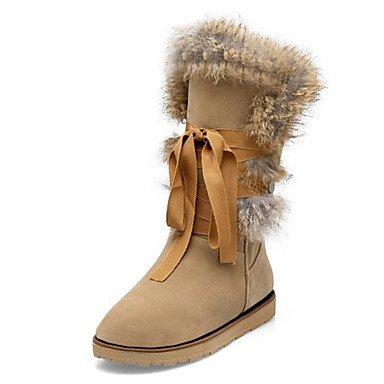 RTRY Scarpe Da Donna In Pelle Scamosciata Autunno Inverno Comfort Novità Snow Boots Fashion Stivali Stivali Tacco Piatto Round Toe Stivali Mid-Calf Feather Lace-Up Per US10.5 / EU42 / UK8.5 / CN43