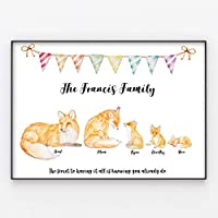 Fox Family Print, Wall Art Gift for Home Personalised Foxes in A3 or A4