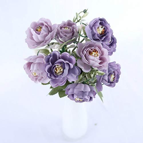 Yueyue947 10 teste vivid viola peonia fiori artificiali bouquet autunno inverno rosa bianco seta fiori di loto falsi decorazione della casa di nozze 3 pz