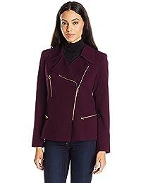Calvin Klein Women's Purple Asymmetrical-Zip Stylish Blazer Jacket