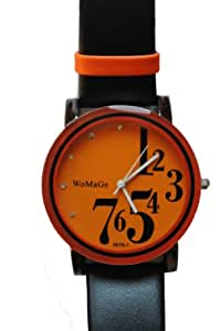 Orange Womage Fashion Watch with Leather Strap and Large Numbers on Dial