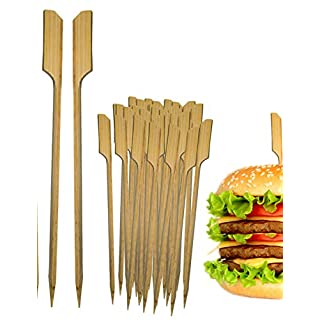 HomeTools.eu® - 100x Mini Hamburger Grill-Spieße, Sticks | BBQ Cheese Burger | Bambus Fahne, Fixieren den Burger | Holz, 8,5cm, 100 Stück