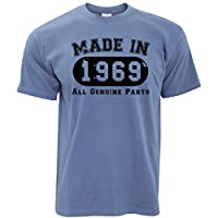 Tim And Ted 50th Birthday T Shirt Made in 1969 All Genuine Parts - (Stone Blue/Large)