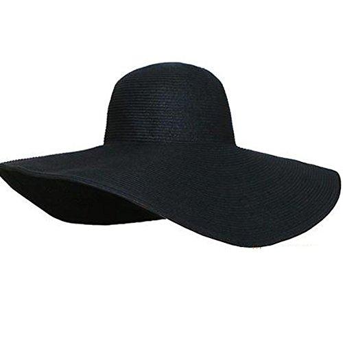 Hüte Für Schwarz Frauen Sommer (TININNA Damen Frauen Elegant Wide Rand Sonnenhut Strohhut Strandhut Sommerhut Sommer Hut Sonnenhuete Strand Kappe Sandstrand Sonnenhüte schwarz)