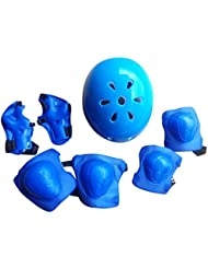 Finer Shop 7Pcs Rodilleras Codo Muñeca Flor Ciruelo Deporte Casco Seguridad Protección Engranajes para Niños Monopatín Patinaje Ciclismo Montar Perfilado - Azul M