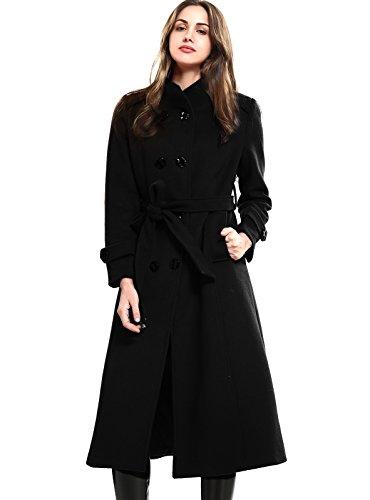 Escalier Donna Solid doppio petto Cappotto caldo di inverno con cintura
