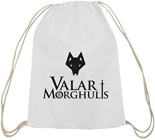 Shirtstreet24, Valar Moghulis Wolf, Baumwoll natur Turnbeutel Rucksack Sport Beutel weiß natur