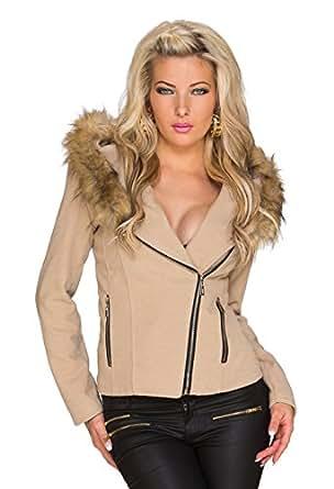4500 Fashion4Young Damen Kurzjacke mit Kapuze Jacke Jäckchen Fell verfügbar in 3 Farben 2 Größen (S = 36, Creme)
