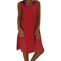 Geilisungren Vestidos Mujer Casual Sin Mangas, Vestidos de Fiesta Vestido de Camiseta Playa Moda Cuello Redondo Falda Larga Impresión Vestido Talla Grande Verano Suelto Faldas de Tubo Algodón y Lino