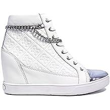 Guess Sneaker Mujer Furia cuña Aumentar Cm 7 Cuero White