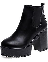 Calzado de mujer, Amlaiworld Plataformas de tacón cuadrado cuero muslo alta botas de la bomba zapatos